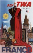Vintage Travel Poster Fly TWA France